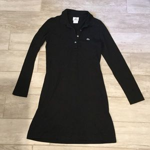 LACOSTE black long sleeve classic polo dress